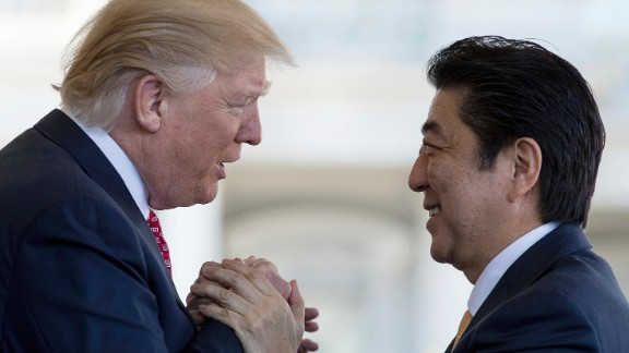 Trump welcomes Japanese Prime Minister Shinzo Abe outside the West Wing of the White House on Friday, February 10. The two leaders held Oval Office talks and had lunch together in the State Dining Room. The next day, they traveled to Trump's Mar-a-Lago resort and played golf together.