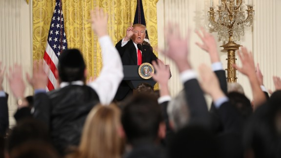"""Trump speaks during a news conference in the East Room of the White House on Thursday, February 16. The President lashed out against the media and what he called fake news as he displayed a sense of anger and grievance rarely vented by a president in public. He said he resented reports that his White House was in chaos. """"This administration is running like a fine-tuned machine,"""" he said."""
