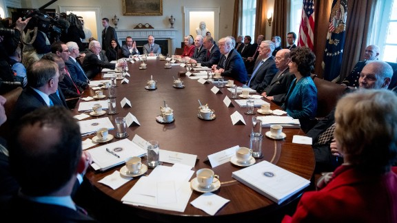 Trump speaks Monday, March 13, during the first meeting with his Cabinet. Who's who on Trump's Cabinet? See the full list here