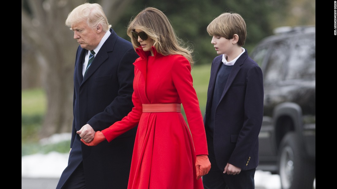 Trump, the first lady and their son, Barron, walk to Marine One before leaving the White House on Friday, March 17. Melania and Barron Trump are living in New York until Barron finishes out the school year.