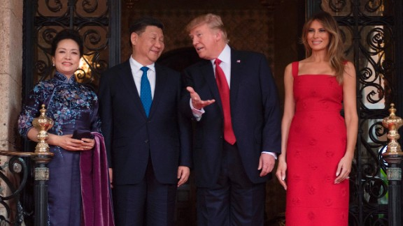 Trump and Chinese President Xi Jinping are accompanied by first ladies Melania Trump and Peng Liyuan as they talk at the Mar-a-Lago resort in Florida on April 6. During Xi's visit, the trade relationship between China and the United States was at the top of the agenda, as was the rising threat of North Korea's nuclear program.