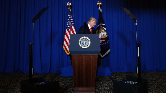 """Trump walks away from the lectern after announcing the missile strike in Syria on April 6. """"It is in this vital national security of the United States to prevent and deter the spread and use of deadly chemical weapons,"""" Trump said."""