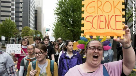 US citizens living in Japan carrying signs and chanting slogans during the March for Science in Tokyo on Earth Day, April 22.