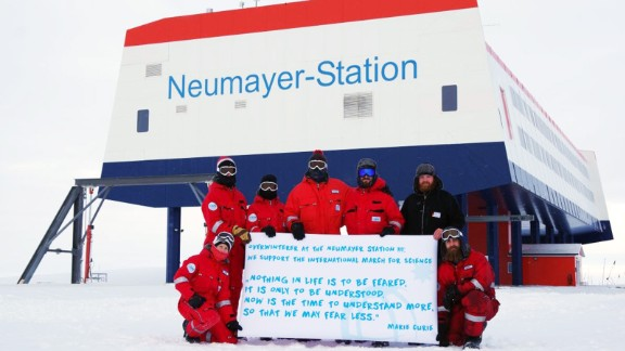 Scientists at the Neumayer Station in Antarctica take part in the March for Science on April, 22.
