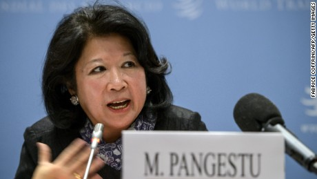 Indonesia's ex-trade minister Mari Elka Pangestu in 2013 at the WTO.