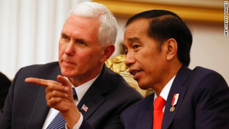 Pence later visited the largest mosque in Indonesia, a symbolic gesture as part of his first visit to the country.
