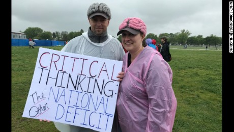 Craig and Joni Wright from Gainseville, Florida, attended the Washington march donning their thinking caps.