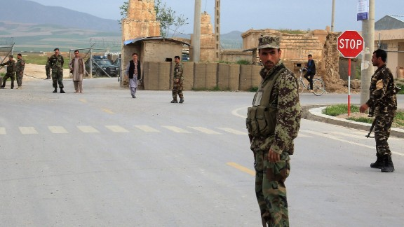BALKH, AFGHANISTAN - APRIL 21 :  Afghan security officials stand guard near the site where militants targeted an army base during Friday prayers, in Balkh province, Afghanistan, 21 April 2017. At least eight soldiers were killed and 11 wounded when Taliban fighters attacked an army base in Balkh province on 21 April.  (Photo by Sayed Khodaberdi Sadat/Anadolu Agency/Getty Images)