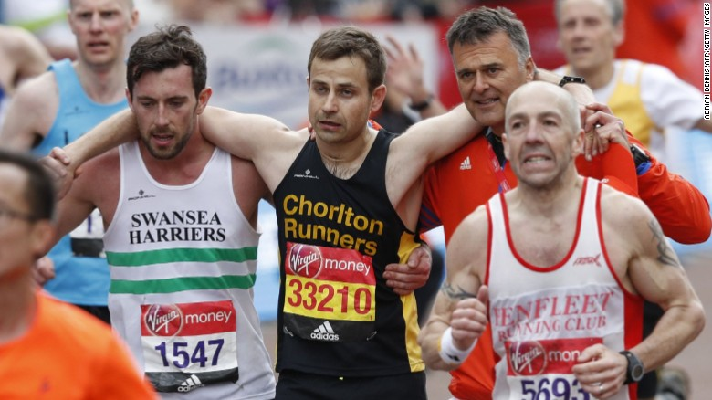 Matthew Rees Helps David Wyeth Reach The Finish Line During London Marathon