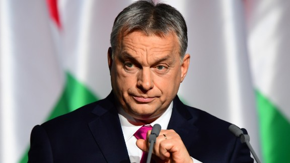 Hungarian Prime Minister and Chairman of FIDESZ party Viktor Orban delivers his state of the nation address in front of his party members and sypathizers at Varkert Bazar cultural center of Budapest,on February 10, 2017. / AFP / ATTILA KISBENEDEK        (Photo credit should read ATTILA KISBENEDEK/AFP/Getty Images)