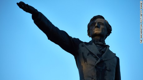 New Orleans'  Jefferson Davis statue towers over the street also named for the Confederate President.