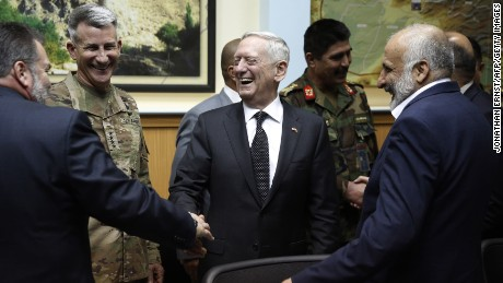 US Defense Secretary James Mattis and US Army General John Nicholson, the top US commander in Afghanistan, meet with Afghanistan's National Directorate of Security Director Mohammad Masoom Stanekzai and other members of the Afghan delegation at Resolute Support headquarters in Kabul in April.