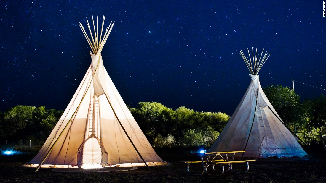 <strong>El Cosmico, Marfa, Texas:</strong> A 21-acre nomadic hotel and campground, El Cosmico has Sioux-style teepees, renovated vintage trailers, safari and scout tents, a Mongolian yurt and tent campsites to rent. The shared spaces include a reading room, hammock grove, an outdoor kitchen and outdoor stage.