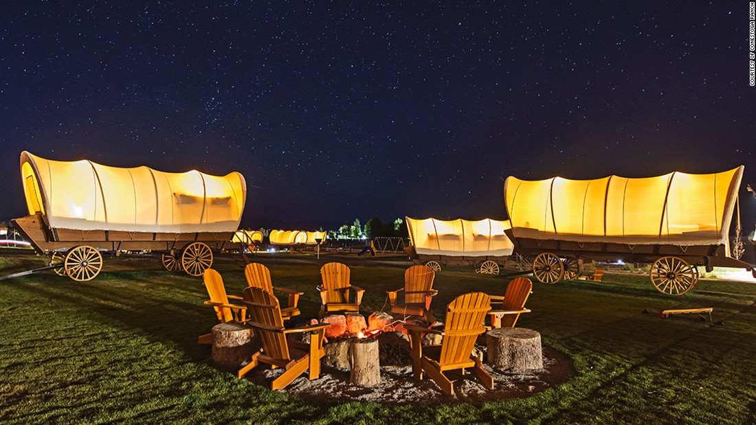 <strong>Conestoga Ranch, Garden City, Utah: </strong>Life at this remote Utah ranch is centered around Bear Lake, where guests can stay in 19th-century style Conestoga wagons or glamping-style tents.<br />