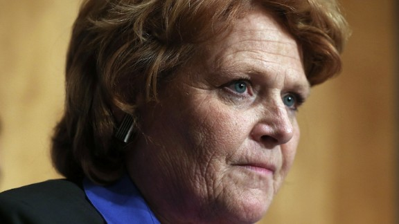 WASHINGTON, DC - MARCH 21:  U.S. Sen. Heidi Heitkamp (D-ND) listens during a hearing before the Senate Homeland Security and Governmental Affairs Committee March 21, 2013 on Capitol Hill in Washington, DC. (Photo by Alex Wong/Getty Images)