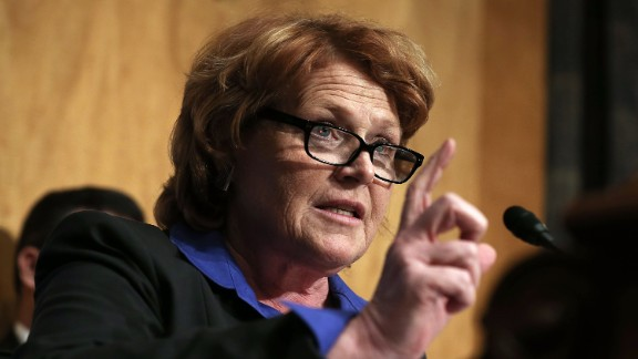 "North Dakota Sen. Heidi Heitkamp said Hillary Clinton will ride off into the political sunset ""not soon enough."""