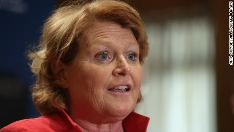 Sen. Heidi Heitkamp appears in a press conference on Capitol Hill.