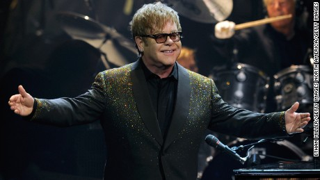 "LAS VEGAS, NV - SEPTEMBER 28:  Recording artist Sir Elton John performs during the first night of his new show, ""The Million Dollar Piano"" as John begins a three-year residency at The Colosseum at Caesars Palace September 28, 2011 in Las Vegas, Nevada.  (Photo by Ethan Miller/Getty Images)"