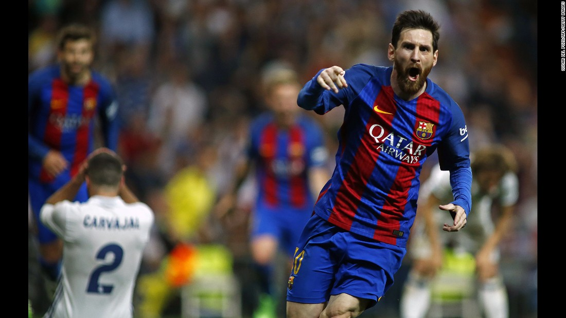 "Barcelona star Lionel Messi celebrates after scoring a last-minute winner against rivals Real Madrid on Sunday, April 23. It was <a href=""http://www.cnn.com/2017/04/24/football/el-clasico-barcelona-real-madrid-leo-messi-cristiano-ronaldo-sergio-ramos/"" target=""_blank"">the 500th goal of his illustrious career,</a> and it pushed Barcelona ahead of Madrid in the Spanish league table."