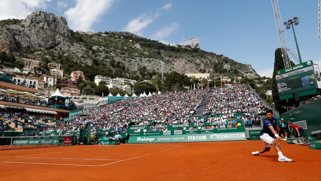 Novak Djokovic plays a backhand during a match at the Monte-Carlo Masters on Tuesday, April 18. The tournament takes place in Roquebrune-Cap-Martin, France, which borders Monaco.