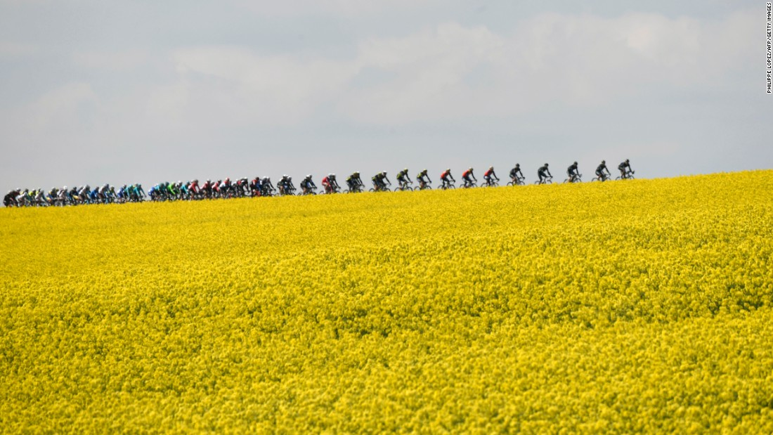 Cyclists ride together Wednesday, April 19, during the Fleche Wallonne road race in Belgium. Spain's Alejandro Valverde won for the fourth straight year.