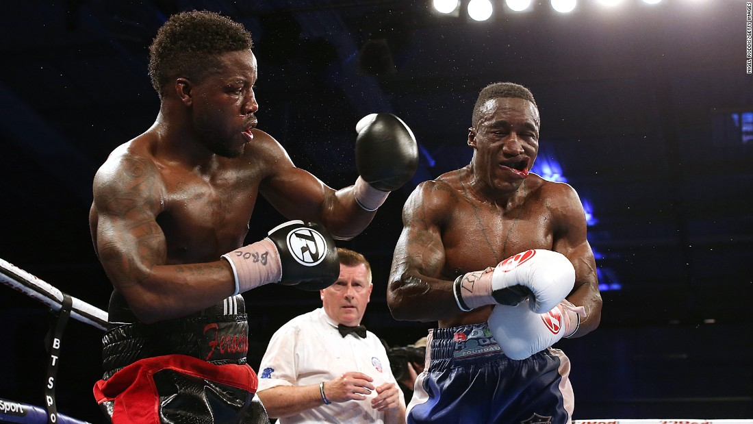 Darryll Williams, left, punches Jahmaine Smyle during their super-middleweight bout in Leicester, England, on Saturday, April 22. Williams won a split decision to become the English champion.