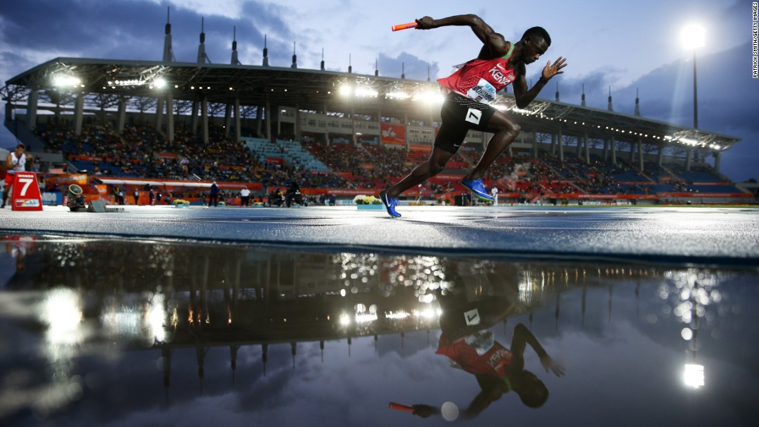 Kenyan sprinter Mark Otieno Odhiambo races in a 4x200 relay in Nassau, Bahamas, on Sunday, April 23.
