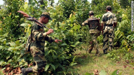 Indian security forces patrol areas known to be used by Maoist rebels, who are active throughout central India.