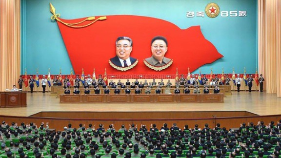 National meeting to mark North Korea's 85th anniversary of Army Day. This picture shows a national meeting inside the People's Palace of Culture in Pyongyang.