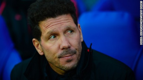 Atletico Madrid's Argentinian coach Diego Simeone reacts ahead of the UEFA Champions League quarter-final second leg football match between Leicester City and Club Atletico de Madrid at the King Power stadium in Leicester on April 18, 2017. / AFP PHOTO / MIGUEL RIOPA        (Photo credit should read MIGUEL RIOPA/AFP/Getty Images)