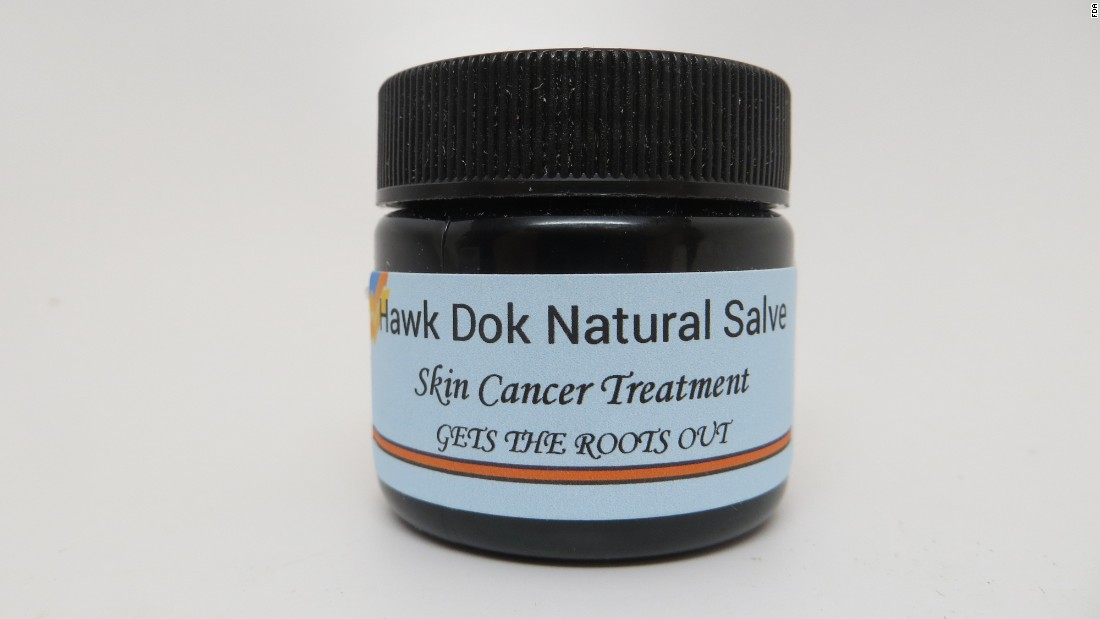 Skin Cancer Treatment, marketed and sold by Hawk Dok Natural Salve LLC.