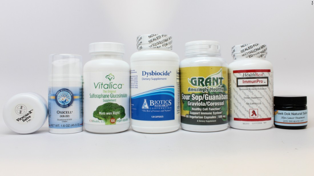 "The FDA is cracking down on companies selling products that it says falsely claim to prevent, treat or cure cancer. ""The products ... have not been reviewed by FDA for safety and efficacy, and can be dangerous to both people and pets,"" the agency says. Click through the gallery to see a selection of the products, provided by the FDA."