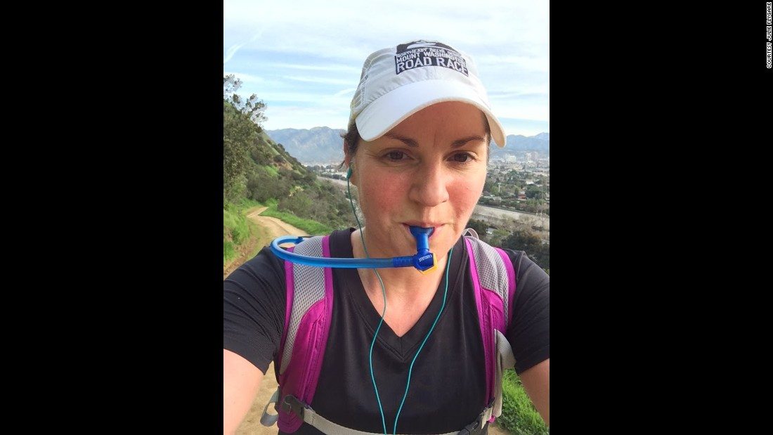 She took a Camelbak with water and medication in case she experienced cataplexy during the marathon.