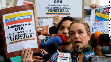 Lilian Tintori, wife of Venezuelan opposition leader Leopoldo Lopez,  at the National Assembly in Caracas on March 7, 2017.