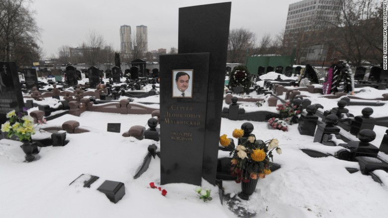 The grave of Russian lawyer Sergei Magnitsky at the Preobrazhenskoye cemetery in Moscow, in 2012.