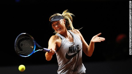 Sharapova training before her match against Vinci of Italy during the Porsche Tennis Grand Prix at Porsche Arena on Wednesday in Stuttgart, Germany.
