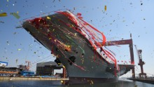 China's second aircraft carrier was launched at a ceremony on April 26, 2017. It is their first domestically-built carrier and is yet to be fully completed.