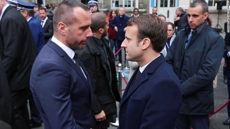 French Presidential Candidate Emmanuel Macron Shakes Hands With Jugeles