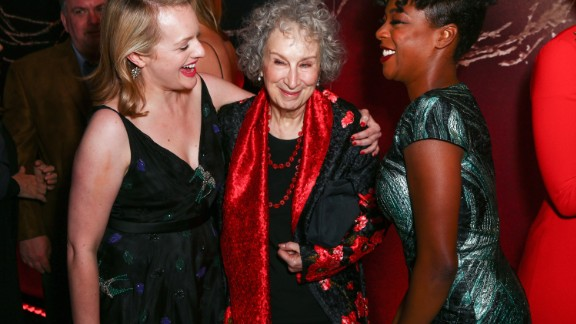 Actor Elizabeth Moss, author Margaret Atwood and actor Samira Wiley attend the premiere of Hulu