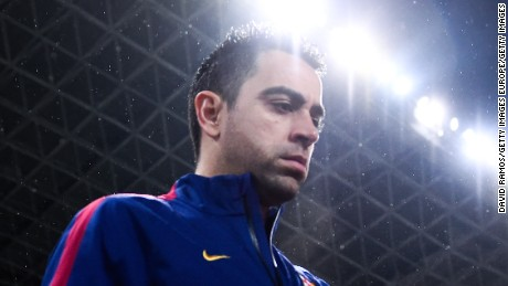 SAN SEBASTIAN, SPAIN - JANUARY 04:  Xavi Hernandez of FC Barcelona walks on the pitch during the La Liga match between Real Sociedad de Futbol and FC Barcelona at Estadio Anoeta on January 4, 2015 in San Sebastian, Spain.  (Photo by David Ramos/Getty Images)