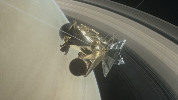 Illustration of Cassini diving between Saturn and its innermost rings as part of the mission