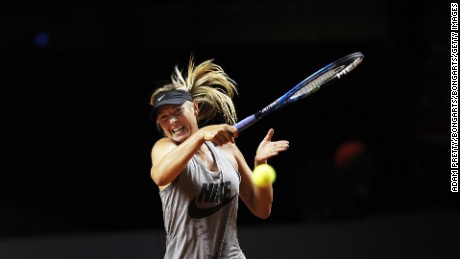 STUTTGART, GERMANY - APRIL 26:  Maria Sharapova of Russia in action during training before her match against Roberta Vinci of Italy during the Porsche Tennis Grand Prix at Porsche Arena on April 26, 2017 in Stuttgart, Germany.  (Photo by Adam Pretty/Bongarts/Getty Images)
