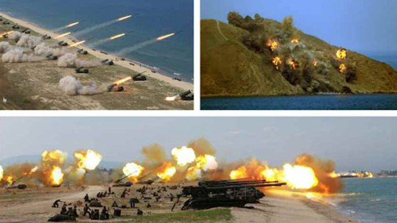 North Korean state media released pictures purporting to show life-fire drills in Wonsan, North Korea, to mark the 85th anniversary of the Korean Peopleís Armyís founding.