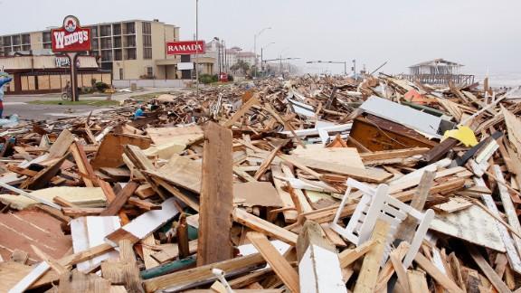 Debris deposited by Hurricane Ike covers Seawall Boulevard in Galveston, Texas, hours after landfall on September 13, 2008.