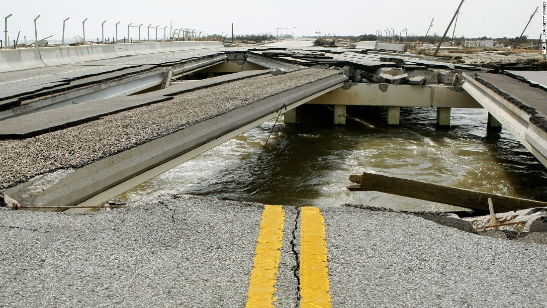A bridge on Highway 87 in Gilchrist, Texas, remains in tatters on September 17, 2008, days after Hurricane Ike slammed the area.