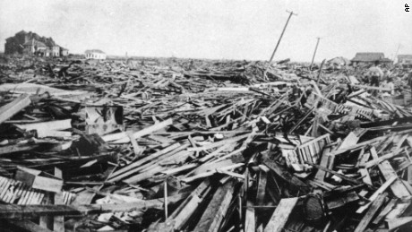 A large part of the city of Galveston, Texas was reduced to rubble, as shown in this September 1900 photo, after being hit by a surprise hurricane Sept. 8, 1900. More than 6,000 people were killed and 10,000 left homeless from the Great Storm which remains the worst natural disaster in U.S. history.