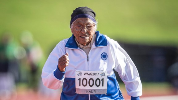 Man Kaur, 101, is still a competitive runner and javelin thrower. From Chandigarh, India, the great-grandmother didn't start competing in sports until she was 93. She credits her daily training, positivity and her avoidance of fried food for her long life.