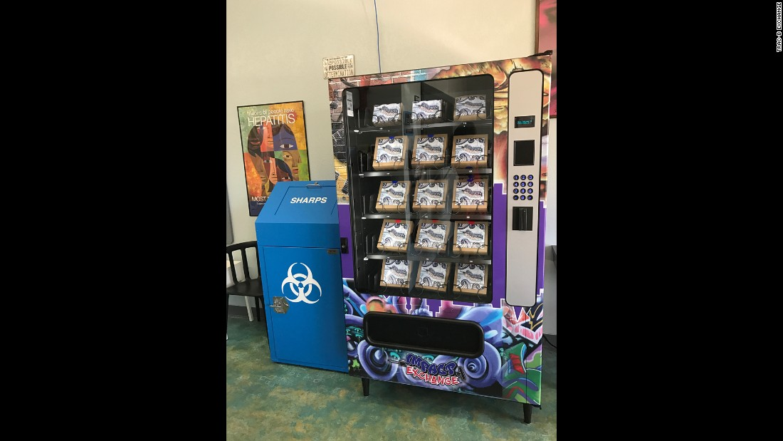 A needle exchange vending machine in Las Vegas allows intravenous drug users access to free, clean needles.