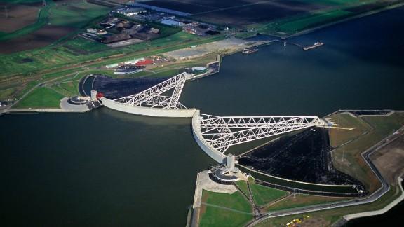 Rotterdam, Netherlands. Closed Storm Surge Barrier, called Maeslant Barrier or Maeslantkering. Part of the Delta Works.