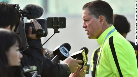 Mexico's Club America Chairman Ricardo Pelaez Linares (R) speaks to reporters during a morning football training session in Osaka on December 14, 2015, the day after their losing match December 13 in the Club World Cup quarter-final against China's Guangzhou Evergrande 2-1.   AFP PHOTO / KAZUHIRO NOGI / AFP / KAZUHIRO NOGI        (Photo credit should read KAZUHIRO NOGI/AFP/Getty Images)